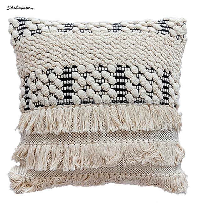 car hotel home decorative bohemian cushion cover tufted throw pillow case buy handmade cushions cover boho cushion cover 100 cotton pillow cases
