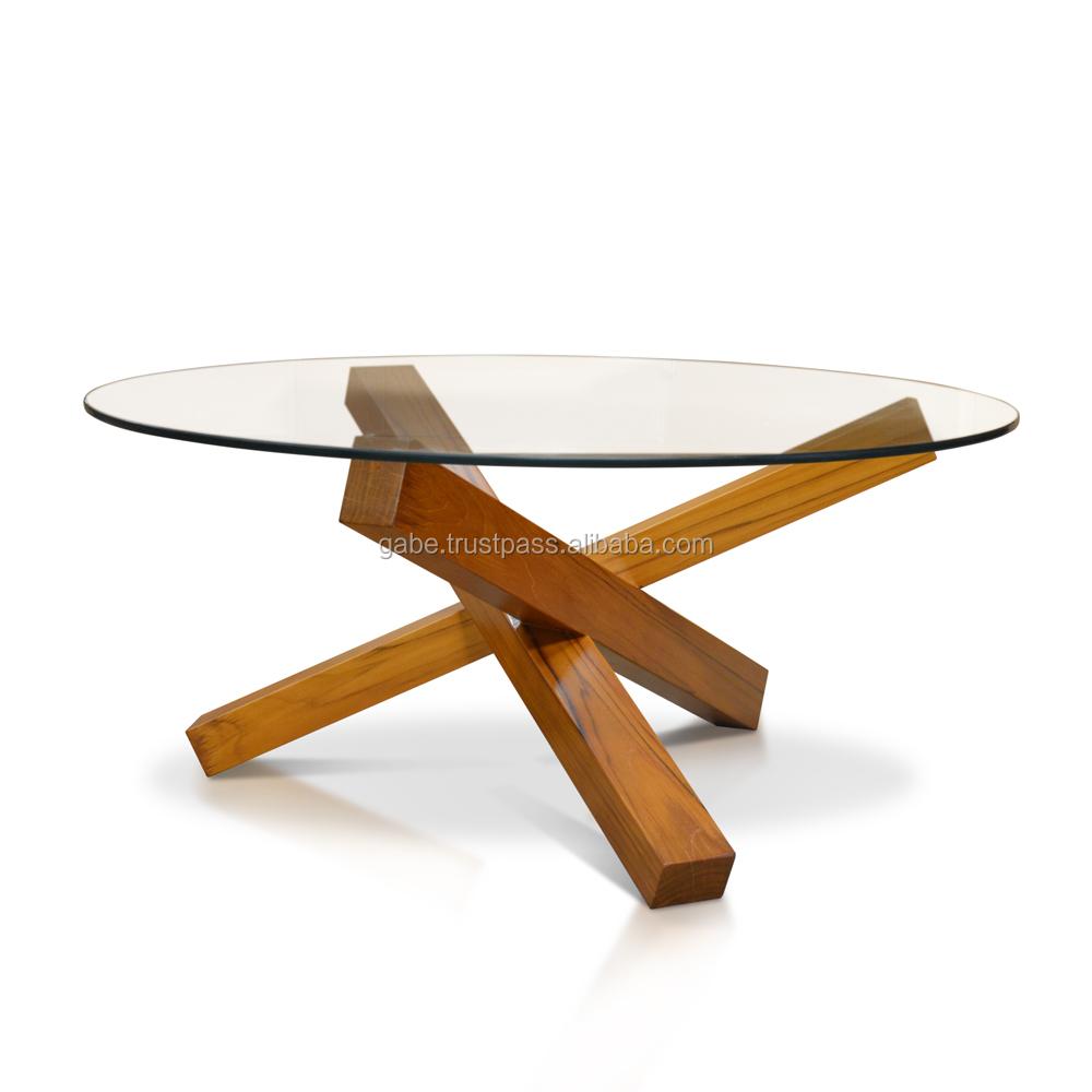 round cross legs coffee table solid teak wood with glass top buy round cross legs coffee table solid teak wood with glass top round coffee teak wood
