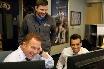 Tom Brenner works with WDIV staff
