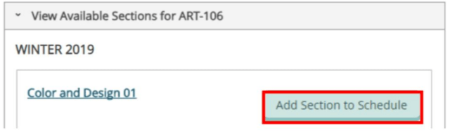 Add Section to Schedule button
