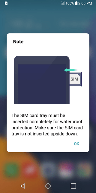 LG G6 SIM Card Tray Water Damage screenshot