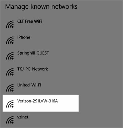Windows manage known networks