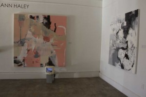 "Ann Haley's intrinsic art pieces include ""I Don't Think You're Ready For This Jelly"" (72x72 in. oil on canvas, video) and monochromatic work ""Mossa, Cagna"" (60x50 in oil on canvas)"