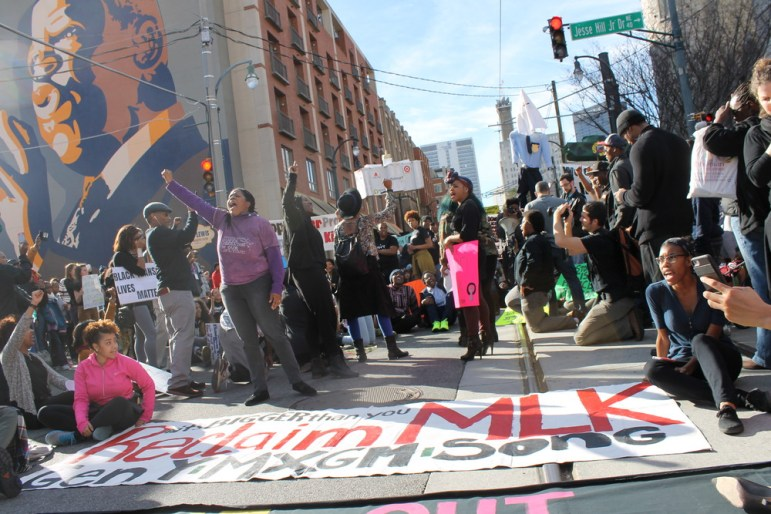 Protesters on Martin Luther King, Jr. Day. Photo by Anna Simonton.