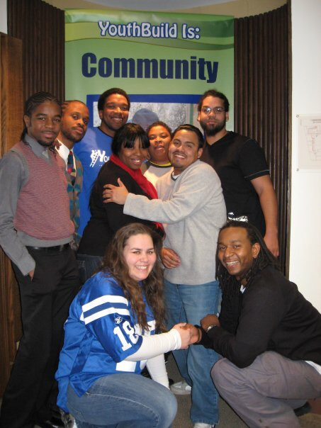 Lanier Spriggs with YouthBuild participants.