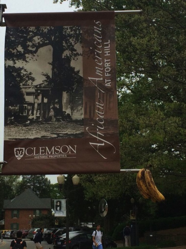 Bananas deface a banner celebrating African American heritage at Clemson.
