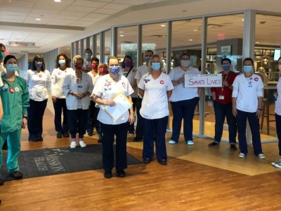 Nurses at HCA's Mission Hospital in Asheville, North Carolina. Photo from the National Nurses Organizing Committee/National Nurses United.