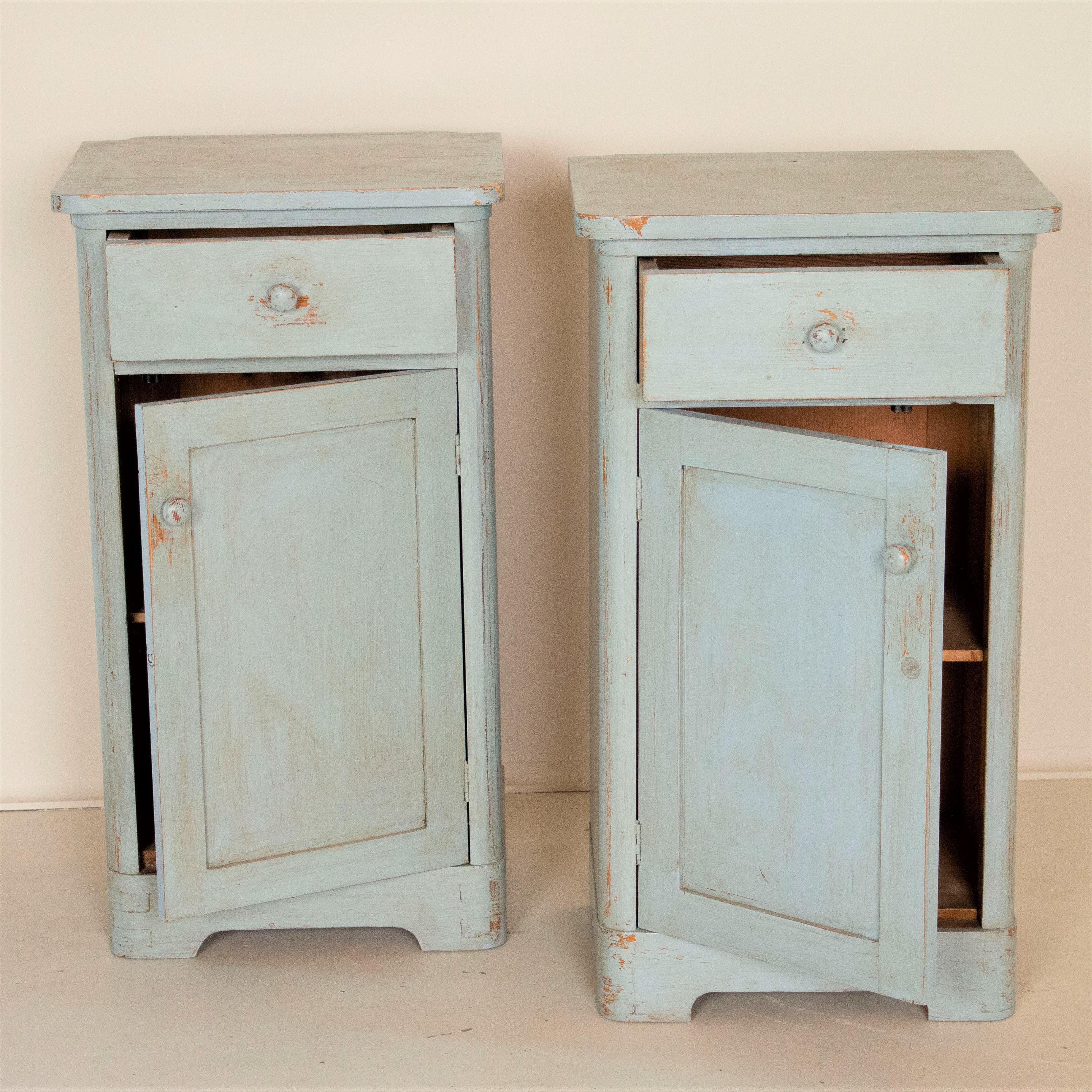 Pair Antique Original Blue Painted Nightstands