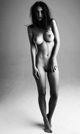 emily ratajkowski naked black and white standing
