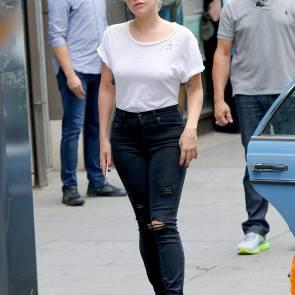 Lady Gaga tits in see through shirt