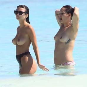 emily ratajkowski and her friend topless