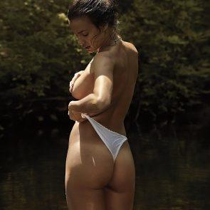 Irina Shayk topless and white panties