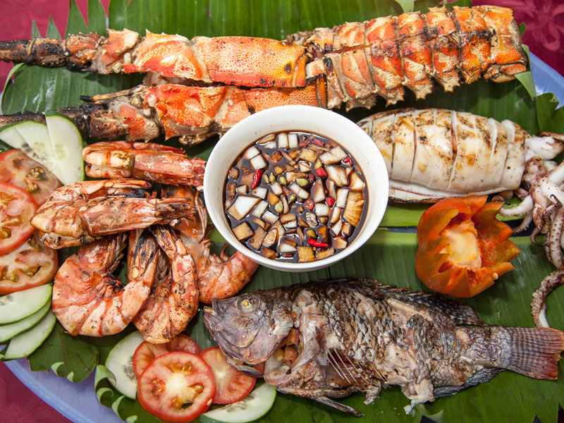 fresh seafood at scandi divers resort puerto galera