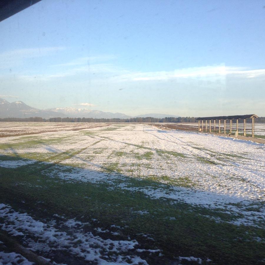 Dans le train traversant la Slovnénie
