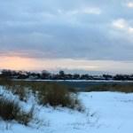 Coucher de soleil et neige