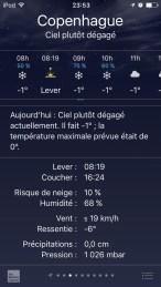 Météo d'hiver à Copenhague