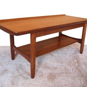Table basse scandinave, plateau incurvé, années 50
