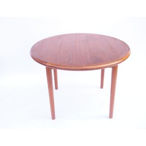 Petite table salle à manger ronde danoise, une rallonge «papillon», vintage 60