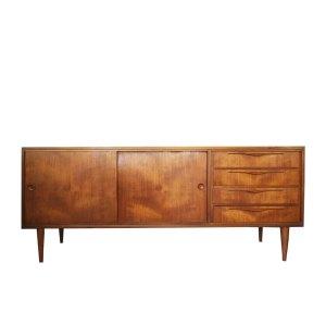 Enfilade scandinave, portes coulissantes et tiroirs, vintage 50