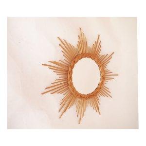 Miroir soleil en rotin, vintage années 60 70 #1