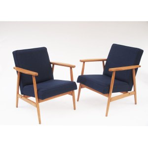 2 fauteuils scandinave vintage,  bleus marine
