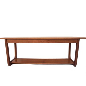 Table basse vintage scandinave, double plateau, piétement « U »