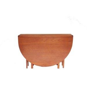 Table de salle à manger ronde à abattants, pliante, vintage scandinave