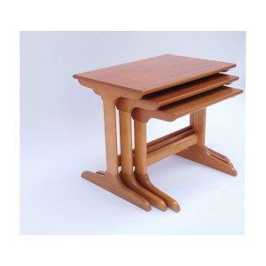 Tables gigognes vintage scandinave, piétement en T inversé