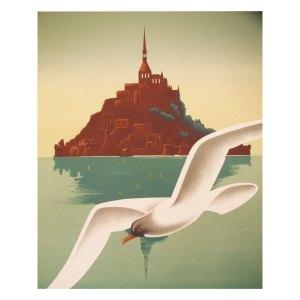 Affiche lithographie vintage, Mont Saint Michel