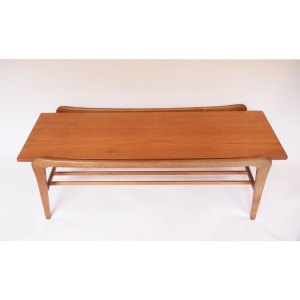 Table basse scandinave vintage, pieds évasés, double plateau baguettes #22