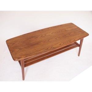 Table basse scandinave vintage double plateau, pieds compas #45