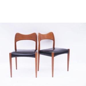 Paire de chaises scandinave danoises Niels Otto Moller modèle 71