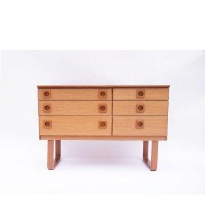 Enfilade ou commode à tiroirs scandinave vintage piétement «U» Schreiber