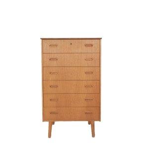Commode haute scandinave vintage 6 tiroirs, étroite #521