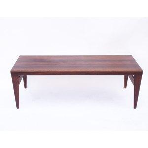 Grande table basse scandinave danoise Illum Wikkelso, vintage Palissandre de Rio, 2 extensions