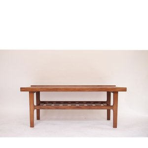 Table basse scandinave vintage, ligne rectiligne, double plateau #342 (2 disponibles)