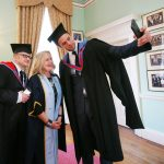 Bressie (who described himself as a selfie stick) takes a selfie with director Lenny Abrahamson and Dr Annie Doona,President Dun Laoghaire Institute of Art, Design and Technology. Pics Brian Farrell
