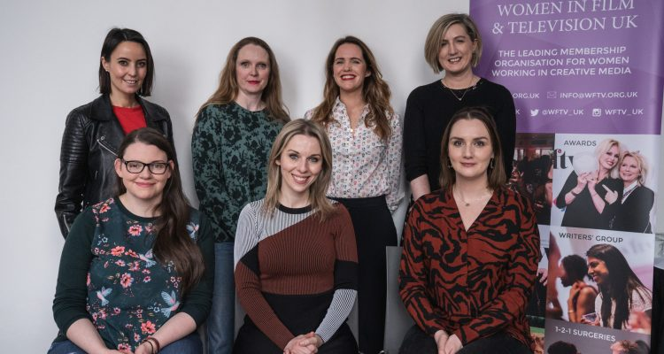 Pictured at the launch of the WFTV NI inaugural mentoring scheme are mentees (l to r) (back row) Milène Fegan, Dee Harvey, Karen Donnelly and Niamh Minihan with (front row) Margaret McGoldrick, Sarah McCaffrey, WFTV NI Mentoring Scheme Producer and Grace Sweeney.
