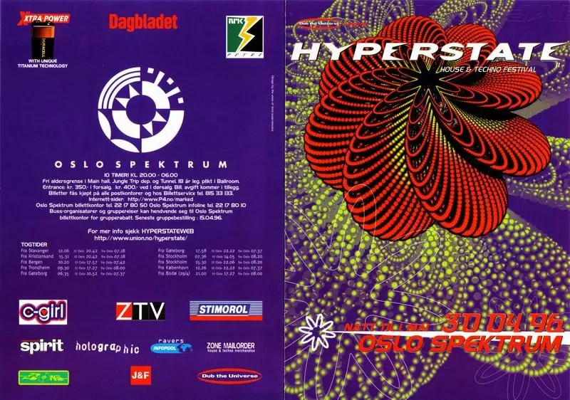 Colourful promotional poster with very abstract shapes and images, with the text HYPERSTATE across the top, and the date 30 04 96 Olsons Spektrum written at the bottom