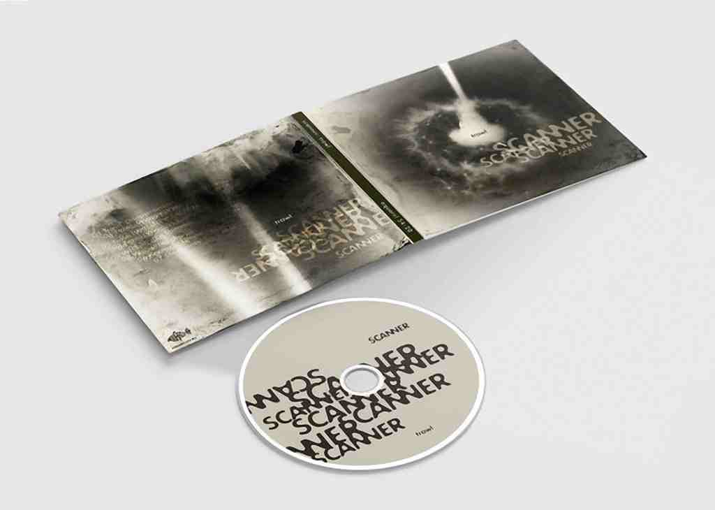 A Compact disc cover and disc lie flat on a white surface, displacing the subdued artwork, black and white, with a flower and the word Scanner repeated over the artwork and CD