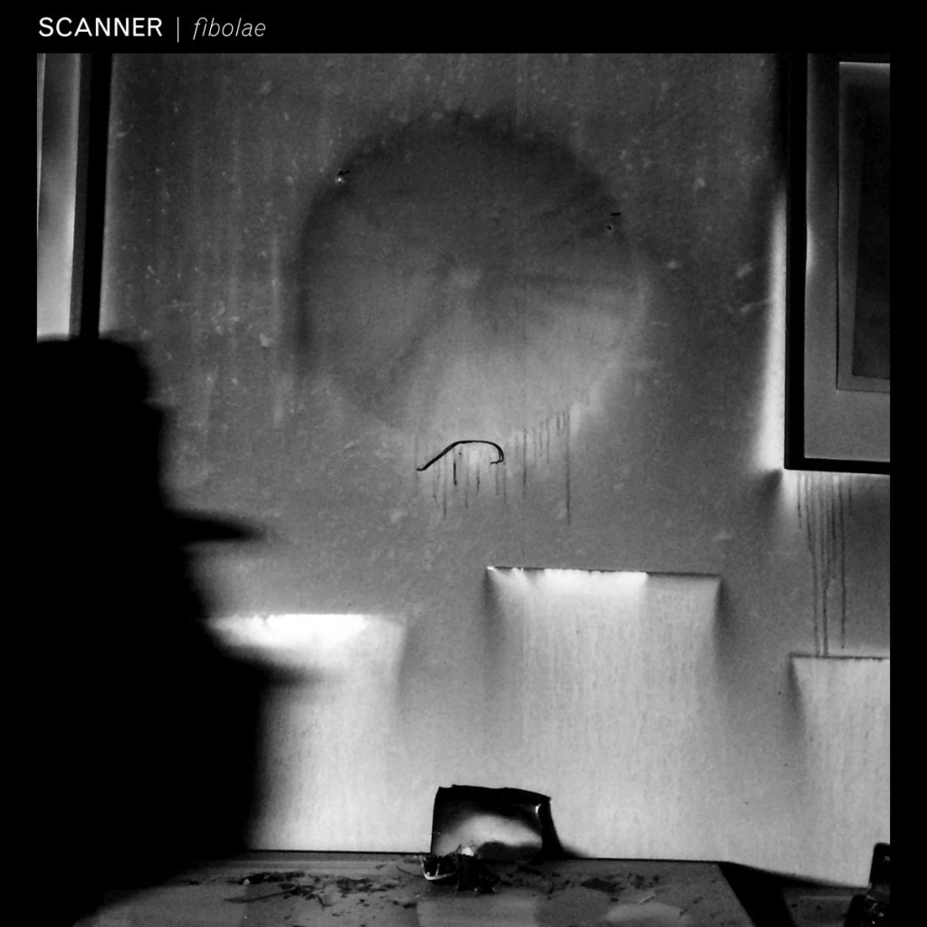 Black and white image of an album sleeve, with abstract cover, of shapes, circles and squares softly melted in a room. Across the top left it reads Scanner Fibolae