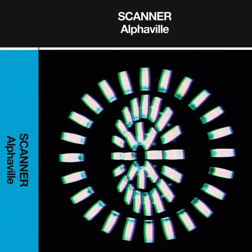Album cover for Scanner Alphaville, with a white circle made of lights against a black background, abstract and dramatic