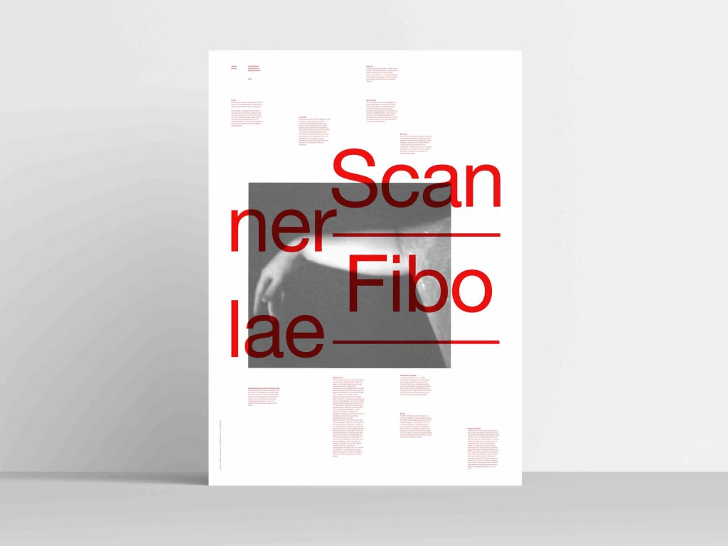 A photo of a poster standing on a stable. The poster is white with an black and white image of an arm. Red text across the poster reads SCANNER FIBOLAE