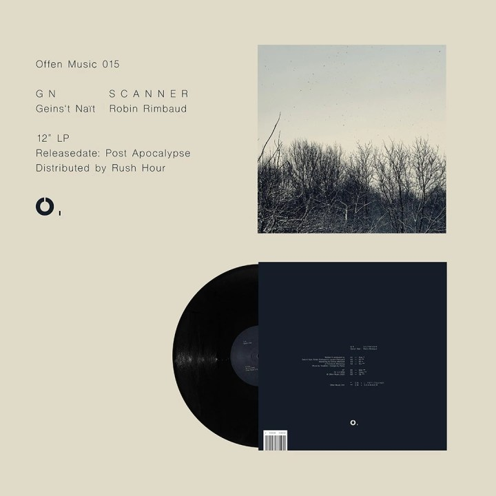 Record sleeve design for Scanner album with image of nature and trees breaking through into the sky, in an autumnal way