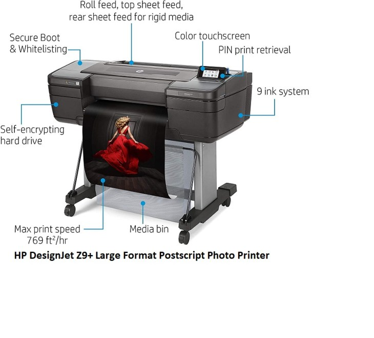 HP DesignJet Z9 Large Format Printers Postscript Photo Printer 24 inch with Spectrophotometer W3Z71A