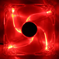 Scanstation 12cm Red LED Case Fan - 3/4 Pin Connector