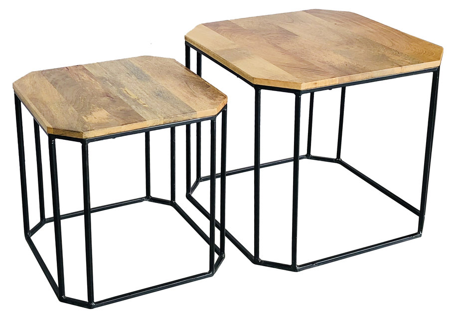 industrial style light mango wood small and large side tables set of 2