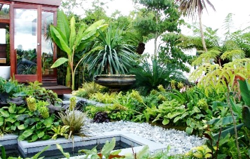 Features Such As Koi Pond, Bamboo Edging, Hand Carved Teak Woods And Rattan  Patio Set Will Help Brightened The Tropical Theme. Tropical Garden Design  ...