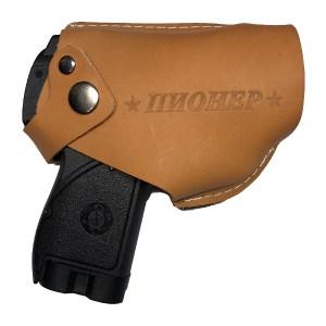 Кобура для пистолета Пионер с клипсой коричневая кожа