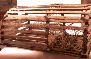 Old style wooden lobster trap.